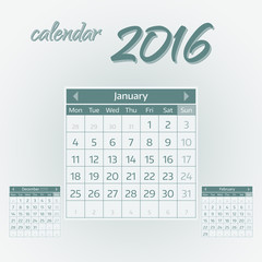 January 2016. Simple european calendar for 2016 year one month grid. Vector illustration.