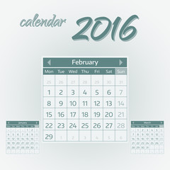 February 2016. Simple european calendar for 2016 year one month grid. Vector illustration.