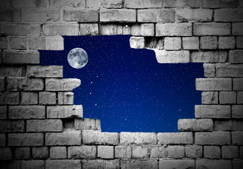 Old brick wall with stars