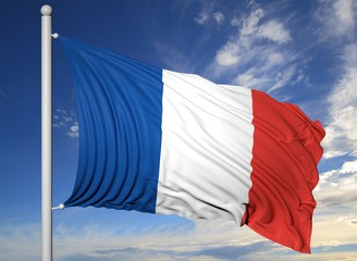 Waving flag of France on flagpole, on blue sky background.