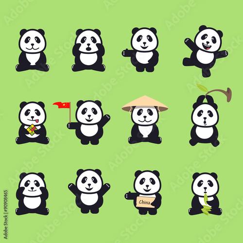 Panda cartoon characters