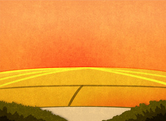 Field crop in the sunset. Cartoon stylish background raster illustration.
