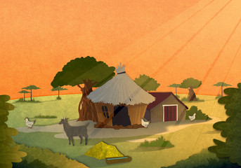 Tribe village houses with farm animals at sunset in Africa. Cartoon stylish background raster illustration.