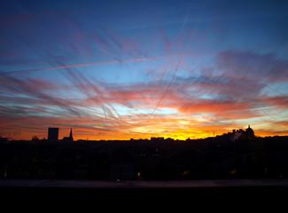Foto op Aluminium Koraal Brussels sunset