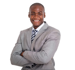 african business man with arms folded