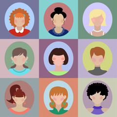 Vector set of different women app icons in flat style