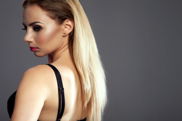 Portrait of blonde lady.