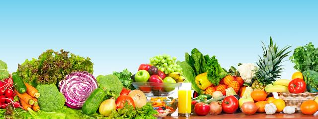 Fototapete - Fresh vegetables and fruits.