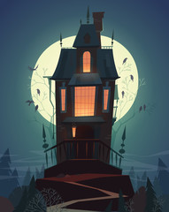 Happy Halloween card \ background \ poster. Vector illustration.
