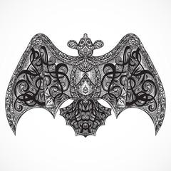 Vintage tattoo design with flying ornate bat top vew. Card, print, t-shirt, postcard, poster for celebration Halloween. Retro hand drawn vector illustration