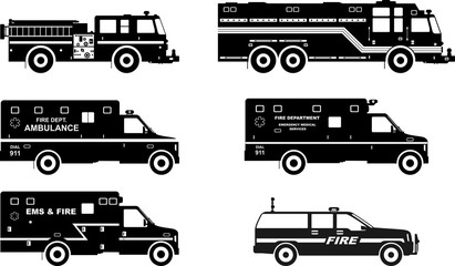Set of different silhouettes fire trucks and ambulance cars