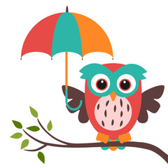 owl and umbrella