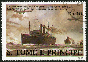 ST. THOMAS AND PRINCE ISLANDS - 1988: shows Dirigibles  and merchant ships