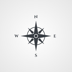 Wind rose, compass icon