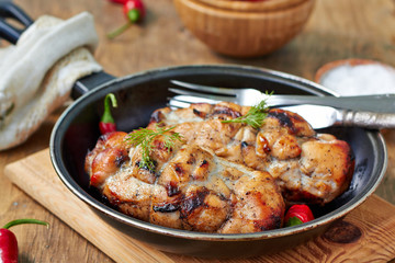 Healthy dinner - baked chicken breast with vegetables in a rustic style,horizontal