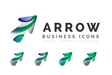 Set of arrow logo business icons