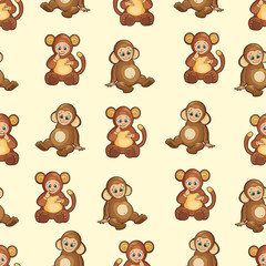 Seamless Background with baby dressed like monkey