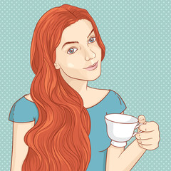 Cute retro girl with cup of coffee or tea