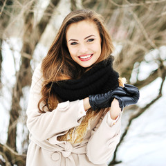 Young beautiful girl winter portrait