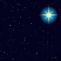 vector background of the night sky with a bright North star