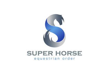 Horse Twisted Ribbon as S letter Logo design Elegant vector