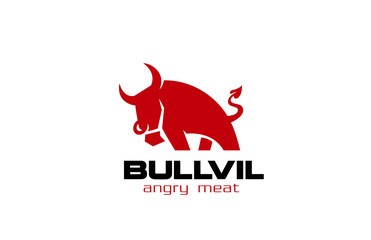 Red Bull Logo design vector. Angry Bull with devil's tale