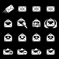 Vector white Email icons set on black background