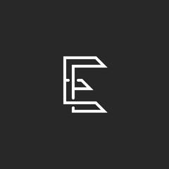 Hipster E letter logo monogram, illusion crossing outline thin line, black and white mockup invitation emblem