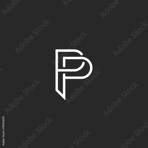 P Letter Monogram Logo Black And White Mockup Invitation Or Business Card Emblem Decorative