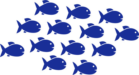 Fish shoal with 13 fish icons