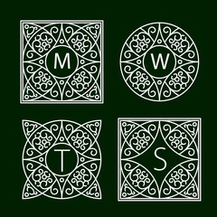 Ornate frames for monograms or other symbols in arabesque style. The letters are replaceable.