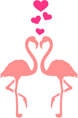 Flamingo couple with hearts