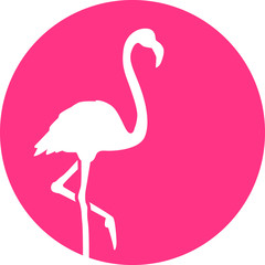Flamingo in front of pink mooon