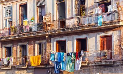 Fresh laundry on the balcony of old home, Havana..