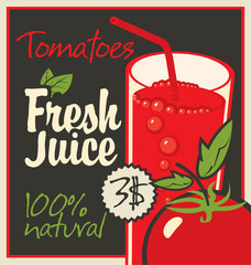 Vector banner with tomatoes and a glass of juice