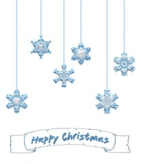 Happy Christmas background with snowflake ornaments