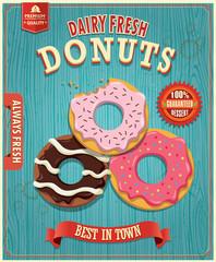 Fotobehang Vintage Poster Vintage donut poster design