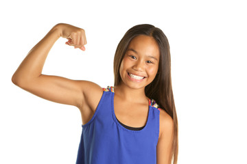 Strong, confident, beautiful Filipino Girl on White Background making a muscle