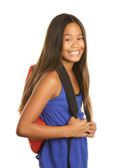Cute Filipino Girl with backpack and a big smile on a white background