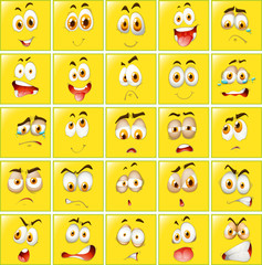 Facial expressions on yellow badges