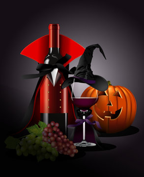 Vector illustrator of Wine glass and Bottle in Dracula and witch