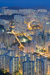 Hong Kong cityscape from aerial view