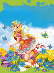 Cartoon scene framed - like cover - beauty - fairy flying over flower field - illustration for children
