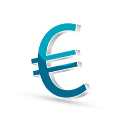 Euro currency blue symbol icon