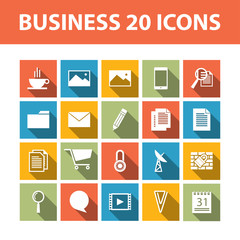 Business 20 vector flat icons set