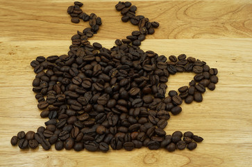 coffee beans in cup style picture