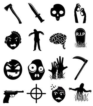 Zombies icons set