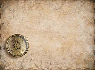 Wall Mural - old nautical map background with compass