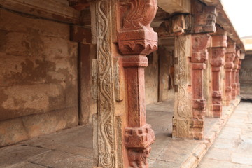red stone sculptures