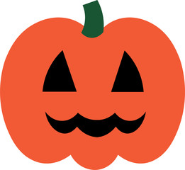 Vector colorful illustration of one drawn bright orange and green colors pumpkin